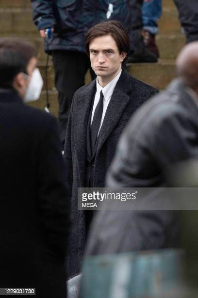Robert Pattinson filming scenes from new Batman movie on October 12, 2020 in Liverpool, England.
