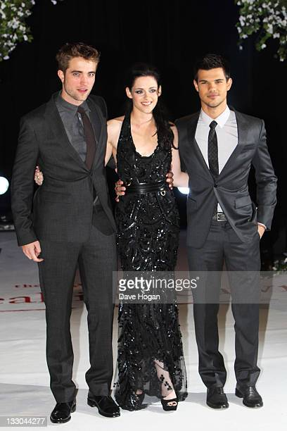 Robert Pattinson Kristen Stewart and Taylor Lautner attend the UK premiere of The Twilight Saga Breaking Dawn Part 1 at Westfield Stratford City on...