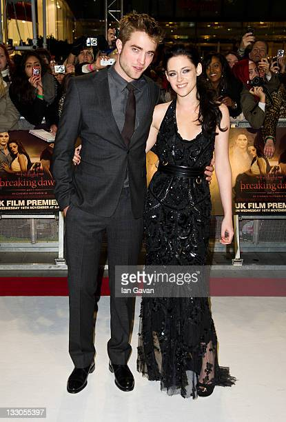 Robert Pattinson, Kristen Stewart attend the UK premiere of The Twilight Saga: Breaking Dawn Part 1 at Westfield Stratford City on November 16, 2011...
