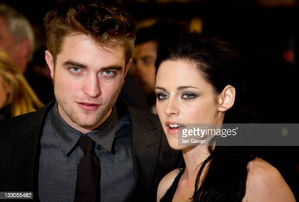 Robert Pattinson Kristen Stewart attend the UK premiere of The Twilight Saga Breaking Dawn Part 1 at Westfield Stratford City on November 16 2011 in...