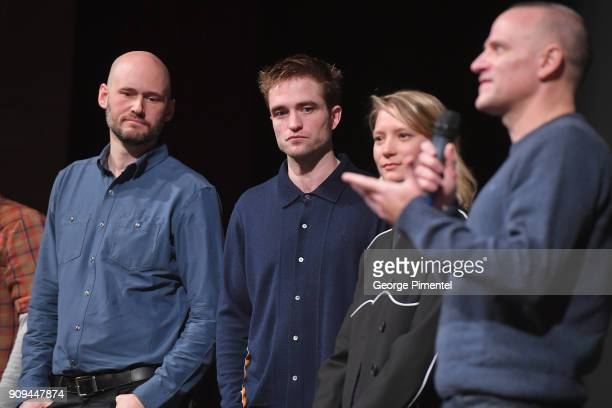 Robert Pattinson Mia Wasikowska and David Zellner speak onstage during the 'Damsel' Premiere during the 2018 Sundance Film Festival at Eccles Center...