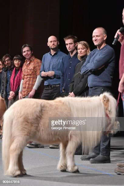 Robert Pattinson Mia Wasikowska and David Zellner speak onstage alongside Daisy the horse during the 'Damsel' Premiere during the 2018 Sundance Film...