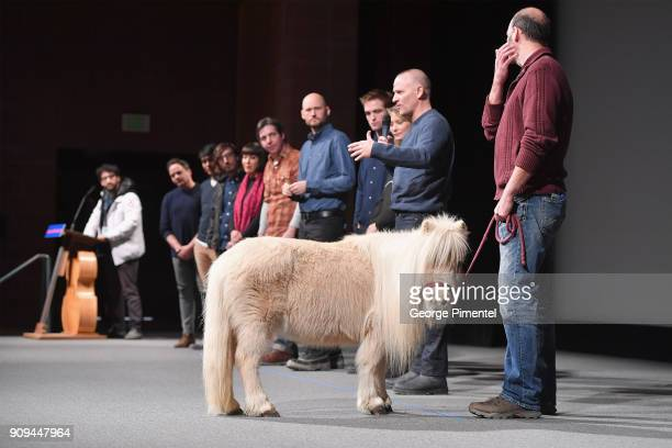 Robert Pattinson Mia Wasikowska David Zellner and Nathan Zellner speak onstage alongside Daisy the horse during the 'Damsel' Premiere during the 2018...