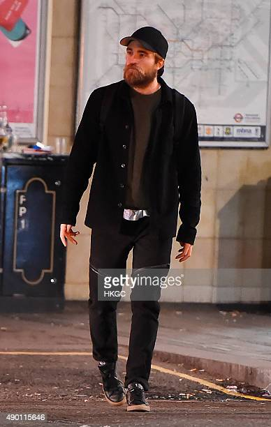 Robert Pattinson pictured leaving a London underground station after a night out with Johnny Flynn on September 25 2015 in London England