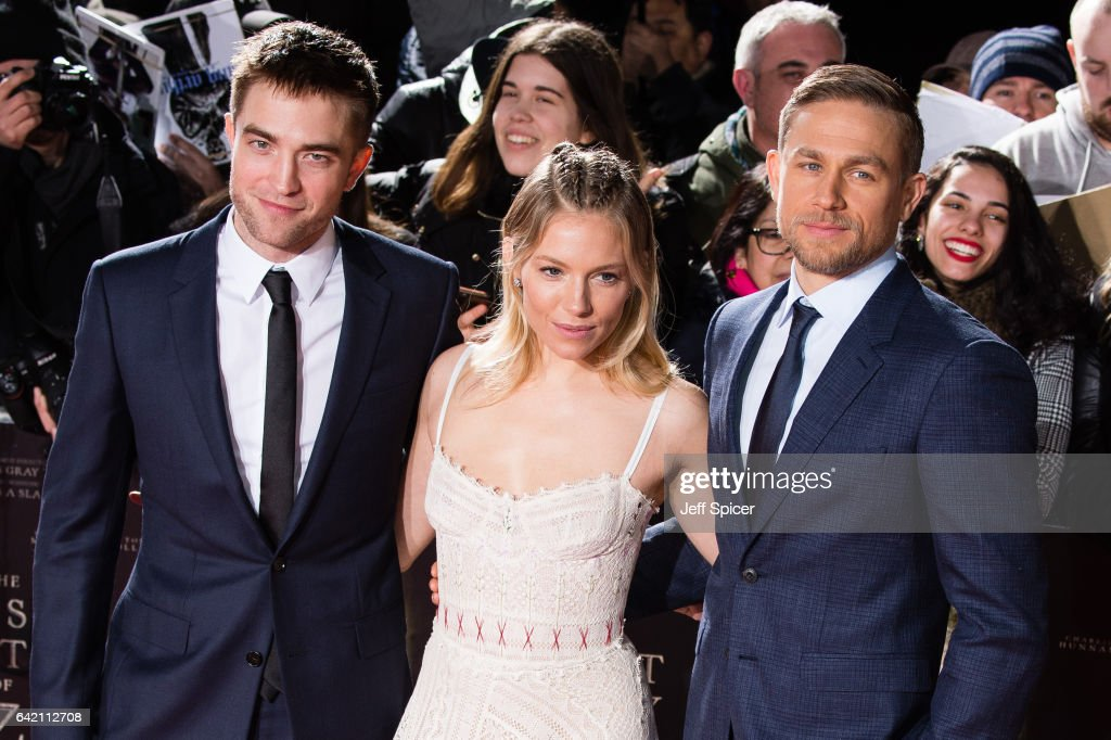 Robert Pattinson, Sienna Miller and Charlie Hunnam arrive at The Lost City of Z UK premiere at The British Museum on February 16, 2017 in London, United Kingdom.