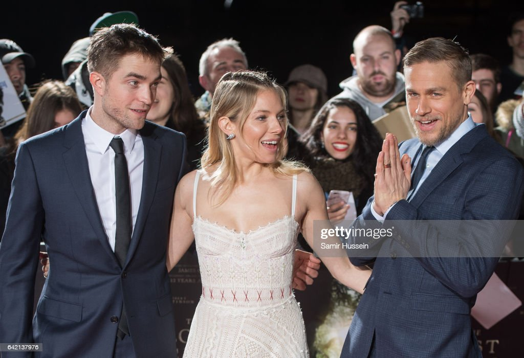 Robert Pattinson, Sienna Miller and Charlie Hunnam arrive at The Lost City of Z UK premiere on February 16, 2017 in London, United Kingdom.