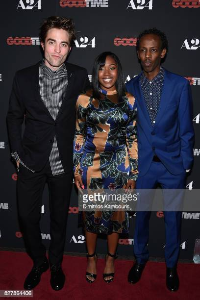 Robert Pattinson Taliah Webster and Barkhad Abdi attend 'Good Time' New York Premiere at SVA Theater on August 8 2017 in New York City