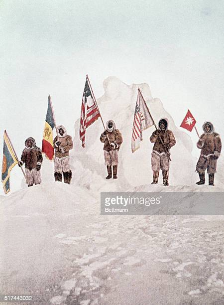 Robert Peary's North Pole Expedition The five flags at the pole Undated color slide screened image Flag Identification Navy League flag held by Mr...
