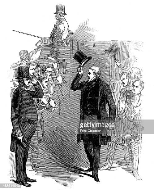 Robert Peel British statesman arriving at the House of Commons London January 1846 Peel receives an enthusiastic welcome from onlookers and is being...