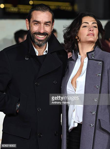 "Robert Pires and his wife Jessica Lemarie attend the World Premiere of ""I Am Bolt"" at Odeon Leicester Square on November 28, 2016 in London, England."