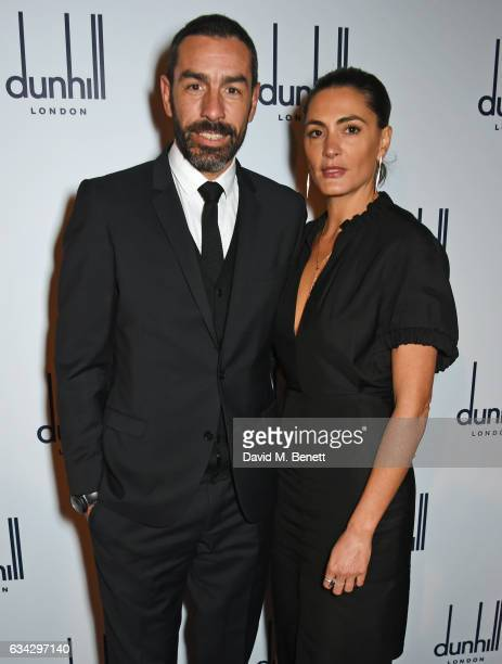 Robert Pires and Jessica Lemarie attend the dunhill and Dylan Jones pre-BAFTA dinner and cocktail reception celebrating Gentlemen in Film at Bourdon...