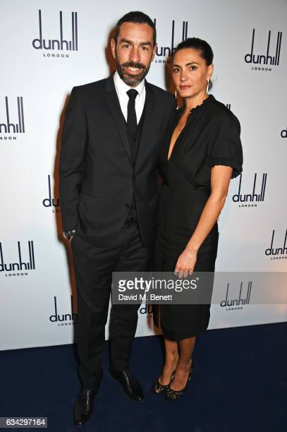 Robert Pires and Jessica Lemarie attend the dunhill and Dylan Jones preBAFTA dinner and cocktail reception celebrating Gentlemen in Film at Bourdon...