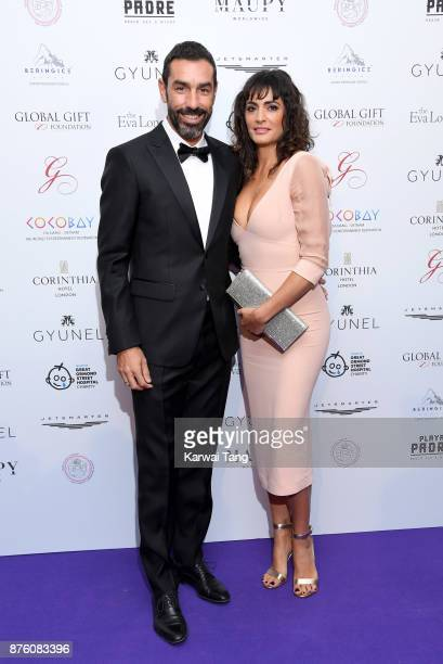 Robert Pires and Jessica Lemarie attend The Global Gift gala held at the Corinthia Hotel on November 18 2017 in London England