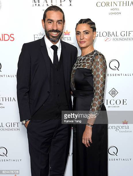 Robert Pires and Jessica Lemarie attend the Global Gift Gala in partnership with Quintessentially on November 19, 2016 at the Corithinia Hotel in...