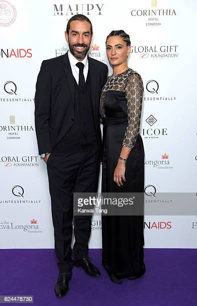 Robert Pires and Jessica Lemarie attend the Global Gift Gala in partnership with Quintessentially on November 19 2016 at the Corithinia Hotel in...