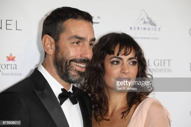 Robert Pires and Jessica Lemarie attend The Global Gift Gala London held at Corinthia Hotel London on November 18 2017 in London England