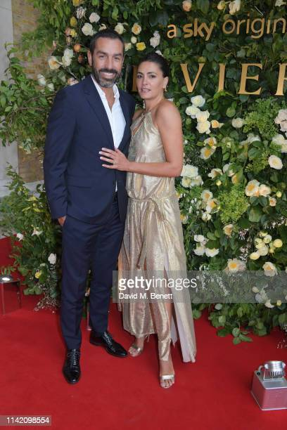 "Robert Pires and Jessica Lemarie attend the Premiere Screening for the new season of Sky Original ""Riviera"" at The Saatchi Gallery on May 7, 2019 in..."