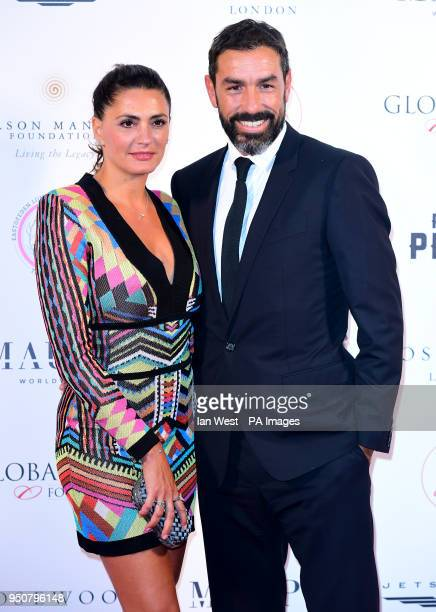 Robert Pires and Jessica Lemarie attending the Nelson Mandela Global Gift Gala at the Rosewood Hotel London