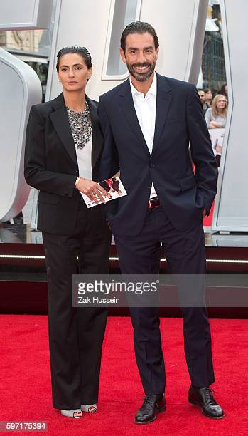 "Robert Pires and Jessica Lemarie-Pires arriving at the UK premiere of ""Spy"" at the Odeon Leicester Square in London."