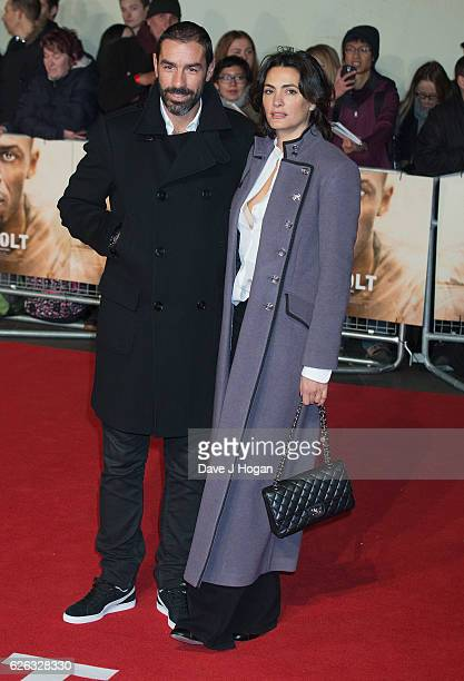 "Robert Pires and Jessica Lemarie-Pires attend the World Premiere of ""I Am Bolt"" at Odeon Leicester Square on November 28, 2016 in London, England."