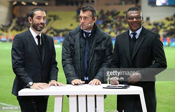 Robert Pires Christian Vieri Marcel Desailly comment for beIN Sports the UEFA Champions League match between AS Monaco FC and Tottenham Hotspur FC at...