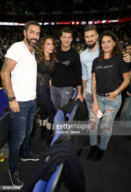 Robert Pires Natacha Tannous Michael Ballack Olivier Giroud and Jessica LemariePires attend the Philadelphia 76ers and Boston Celtics London game at...