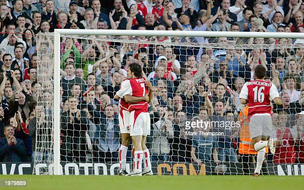 Robert Pires of Arsenal celebrates his second goal during the FA Barclaycard Premiership match between Arsenal and Southampton at Highbury on May 7...