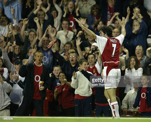 Robert Pires of Arsenal celebrates scoring his third goal during the FA Barclaycard Premiership match between Arsenal and Southampton at Highbury on...