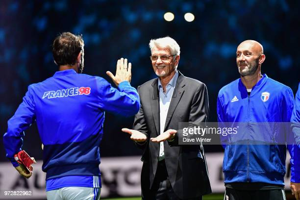 Robert Pires of France France 98 head coach Aime Jacquet and Fabien Barthez of France before the Legends Game match between France 98 and Fifa 98 at...