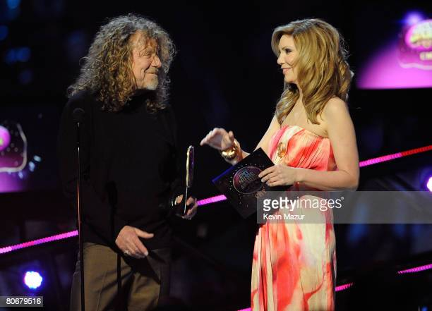 Robert Plant and Alison Krauss onstage during the 2008 CMT Music Awards at the Curb Event Center at Belmont University on April 14, 2008 in New York...