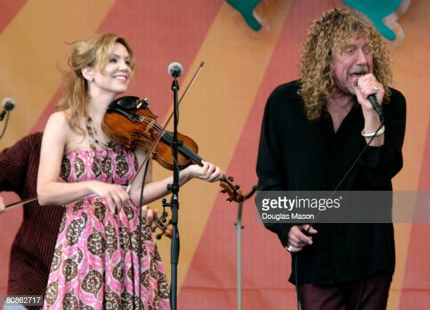Robert Plant and Alison Krauss perform during day one of the New Orleans Jazz Heritage Festival at the Fair Grounds Race Course April 25 2008 in New...