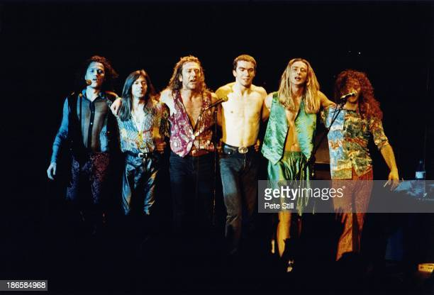 Robert Plant and his band take a bow after their performance on stage at Brixton Academy during his 'Fate Of Nations' solo tour on July 16th 1993 in...
