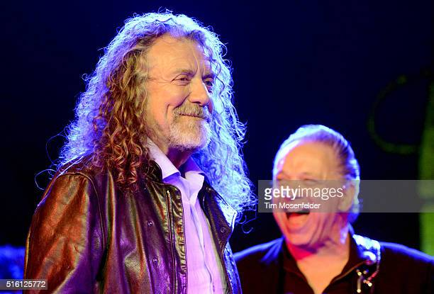 Robert Plant and Jimmie Vaughan perform during the SXSW showcase for the Austin Music Awards at the Hilton Ballroom on March 16 2016 in Austin Texas