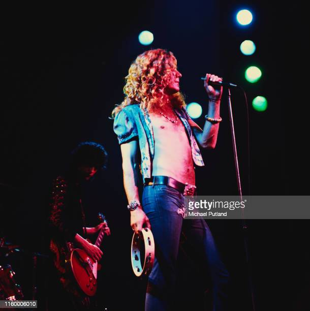 Robert Plant and Jimmy Page of British rock group Led Zeppelin performing at Newcastle City Hall 1st December 1972