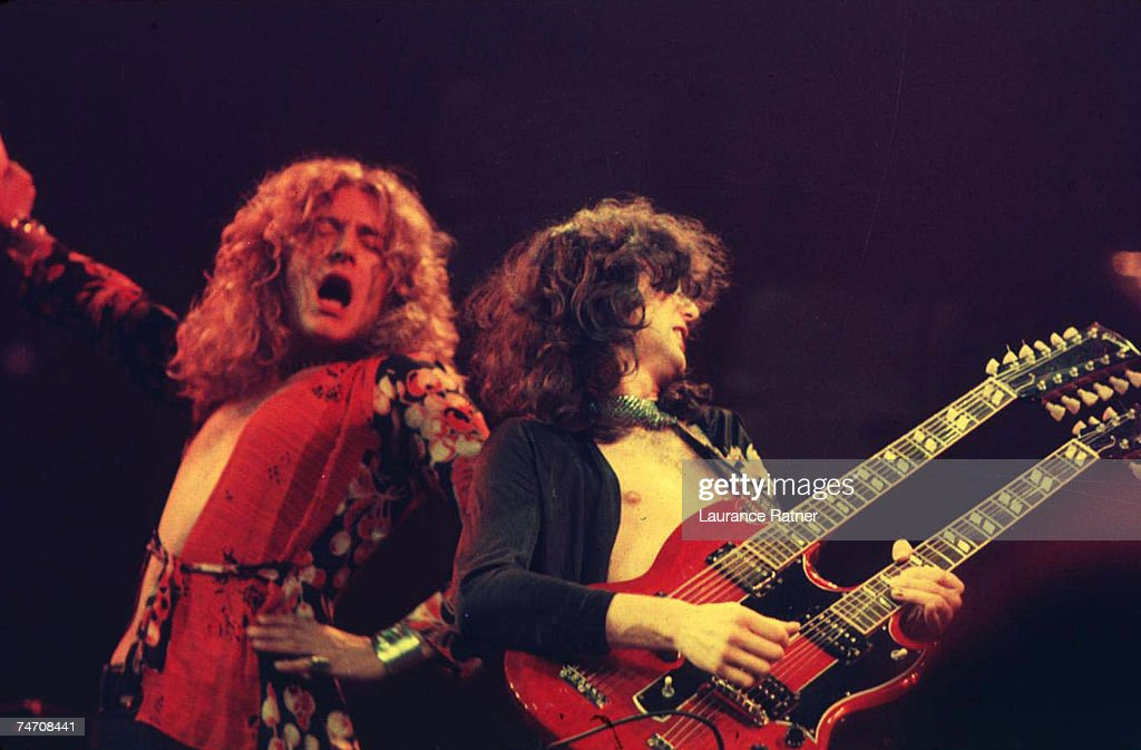Robert Plant and Jimmy Page of Led Zeppelin at the Chicago Stadium in Chicago, Illinois