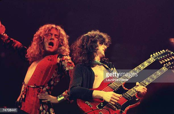 Robert Plant and Jimmy Page of Led Zeppelin at the Chicago Stadium in Chicago Illinois