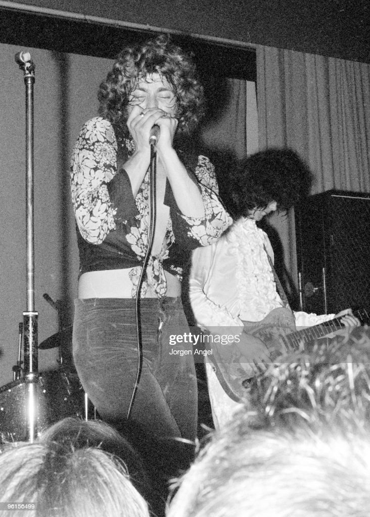 Robert Plant and Jimmy Page of Led Zeppelin perform on stage at their first concert, under the name The New Yardbirds, on September 7th 1968 in Copenhagen, Denmark.