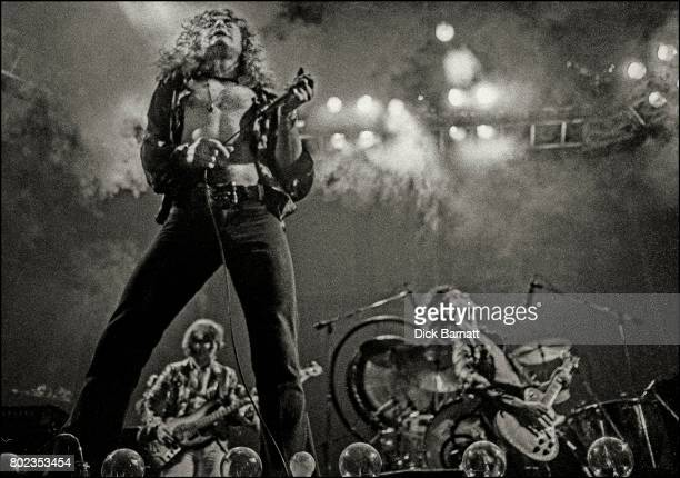 Robert Plant and Jimmy Page of Led Zeppelin performing on stage at Earls Court London 24th May 1975