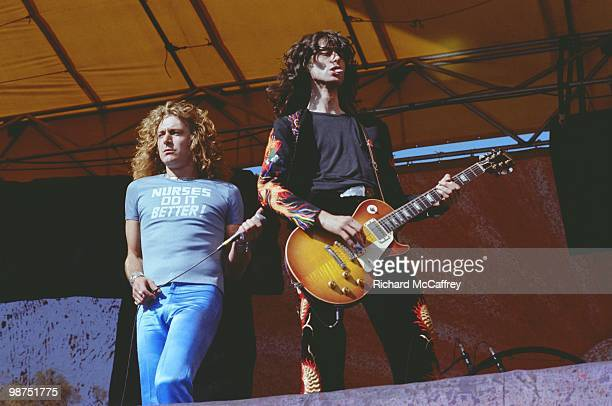 Robert Plant and Jimmy Page of Led Zeppelin performs live at The Oakland Coliseum on July 23, 1977 in Oakland, California.