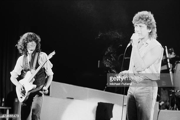 Robert Plant and Jimmy Page playing together, for the first time since the break up of Led Zeppelin, during the encore of a concert by Plant and his...