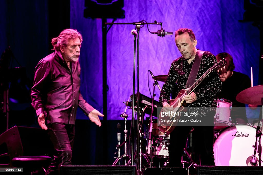 Robert Plant and Justin Adams perform on stage at Ippodromo San Siro on July 27, 2018 in Milan, Italy.