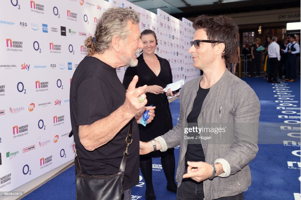 Robert Plant (L) and Kelly Jones of the Stereophonics attend the Nordoff Robbins' O2 Silver Clef Awards at Grosvenor House, on July 6, 2018 in London, England.