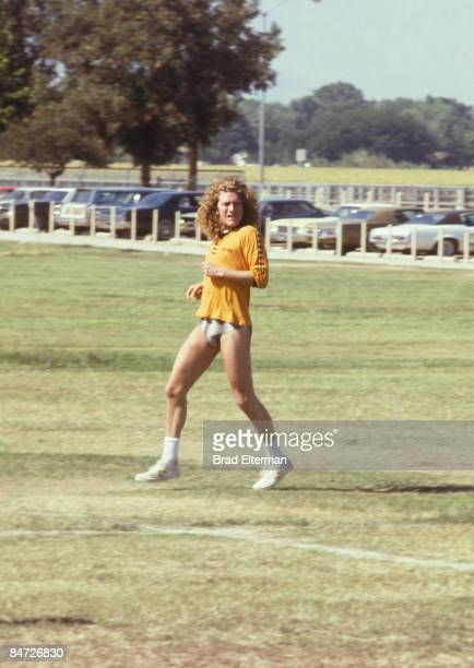 LOS ANGELES JANUARY 01 1979 Robert Plant from Led Zeppelin plays soccer at an Encino park in Los Angeles California **EXCLUSIVE**