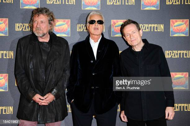 Robert Plant, Jimmy Page and John Paul Jones attend the UK Premiere of 'Led Zeppelin: Celebration Day'>> at Hammersmith Apollo on October 12, 2012 in...