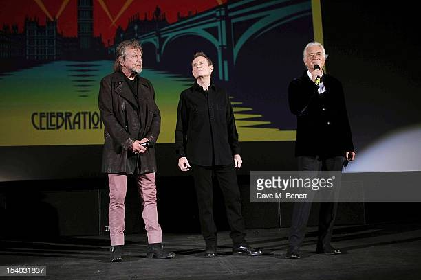 Robert Plant Jimmy Page and John Paul Jones from Led Zeppelin speak at the UK Premiere of 'Led Zeppelin Celebration Day' at Hammersmith Apollo on...