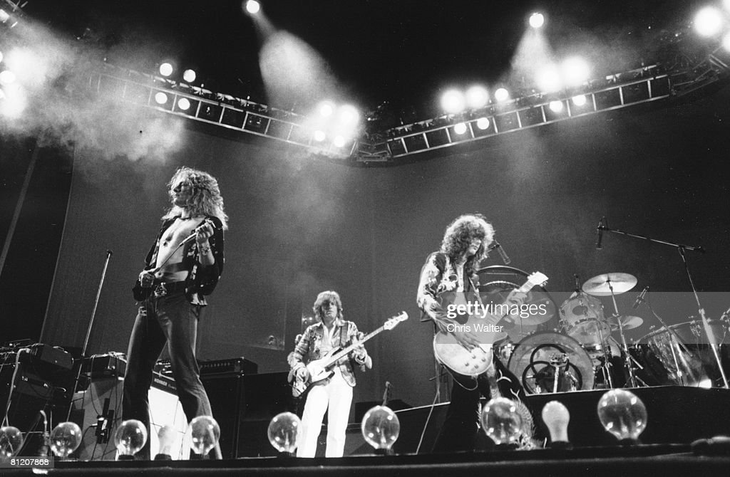 Robert Plant, John Paul Jones and Jimmy Page of Led Zeppelin 1975
