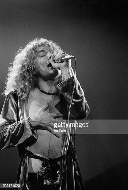 Robert Plant of Led Zeppelin in performance in 1972 at Madison Square Garden