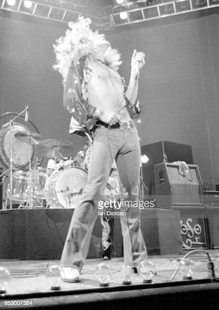 Robert Plant of Led Zeppelin performing on stage at Earls Court London 17 May 1975