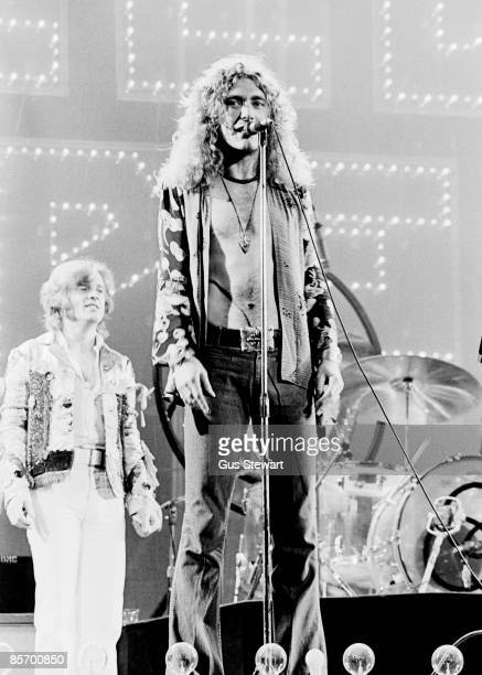 Robert Plant of Led Zeppelin performing on stage at Earls Court on May 24 1975 in London