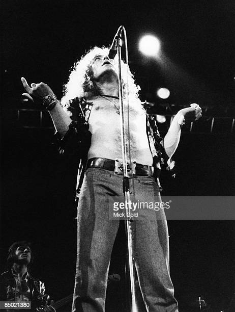 Robert Plant of Led Zeppelin performing Stairway to Heaven live onstage at Erals Court on 18th May 1975 in London